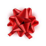 Red Bow ribbon . Vector illustration for celebration birthday card. Festive red bow decoration for holiday gift Stock Photography
