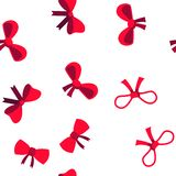 Red Bow And Ribbon Vector Seamless Pattern stock illustration