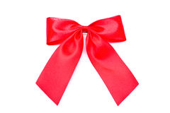 Red Bow. The red bow ribbon on white background Royalty Free Stock Photography
