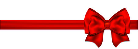 Red bow with ribbon on a white background Stock Images