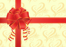 Red bow with ribbons Stock Images
