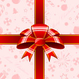Red bow with ribbons background Royalty Free Stock Photography