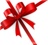 Red bow and ribbons Christmas gift Royalty Free Stock Photography
