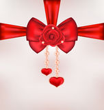Red bow with rose, heart, pearls for card Valentin Royalty Free Stock Images