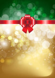 Red bow  on a shines gold and green background. Vector illustration Stock Photography