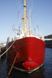 Red bow ship. A moored red ship museum in Astoria Oregon Stock Images