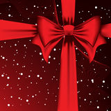 Red Bow. Square composition.Right upper corner. Royalty Free Stock Image