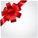 Red bow of striped ribbon Stock Photography