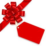 Red bow with tag. Vector Royalty Free Stock Photo