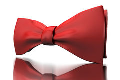 Red bow-tie. Red shiny bow-tie isoladed on mirror surface Stock Photography