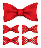Red bow tie with white dots realistic vector illustration set. On white background Royalty Free Stock Photography