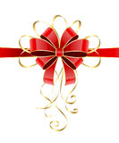 Red bow with tinsel. Red holiday bow with golden tinsel isolated on white background, illustration Stock Photography
