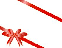 Red bow with two tapes Stock Image