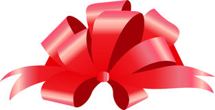 Red bow. Vector illustration on white background. Can be use for decoration gifts, greetings, holidays, etc. Stock Image
