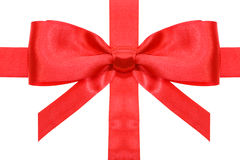 Red bow with vertical cut ends on ribbon close up Royalty Free Stock Photos