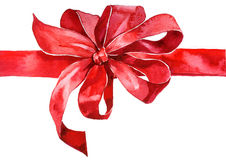 Red bow. Watercolor red bow on white Royalty Free Stock Photo