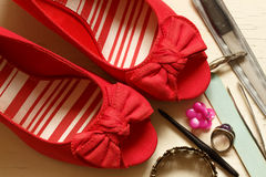 Red Bow Wedges Stock Image