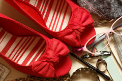Red Bow Wedges Royalty Free Stock Photos