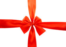 Red bow on white background Stock Photography