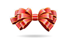 Red bow on a white background. Royalty Free Stock Photo