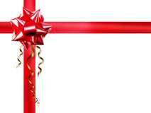 Red bow on white background. Red tape with bow on  white background Royalty Free Stock Image