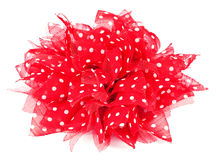 Red bow with white dots, woman's dress accessory Royalty Free Stock Images