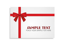 Red Bow on the White Gift Card Stock Photography