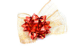 Red bow on wire net Stock Image