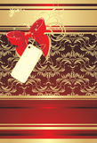 Red Bow With Card On The Decorative Background Royalty Free Stock Photography