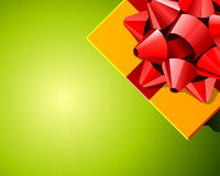 Red bow on wrapped present Royalty Free Stock Image