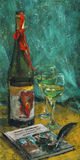 Red bowknot. Red ribbon tied around a bottle of wine, wineglasses, a book and a black feather on the table. Still life. Gouache (tempera) on cardboard Stock Photos