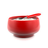 Red bowl. With baby spoon and mash Royalty Free Stock Photos