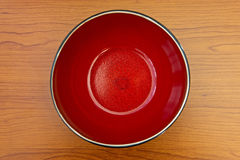 Red bowl. Top view of empty asian red bowl on a table Stock Image