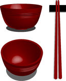Red bowl. A vector, illustration for a 3d red bowl, and chopstick Stock Photo