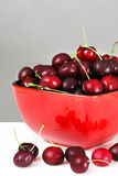 Red bowl of cherries. Red bowl of delicious fresh ripe and plum cherries, great nutrition background Royalty Free Stock Photos