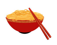 Red bowl of egg noodles. With chopsticks on white background royalty free illustration