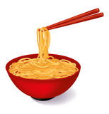 Red bowl of noodle soup. With red chopsticks Royalty Free Stock Images