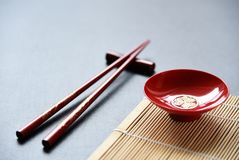 Red bowl and Red wood Chopsticks royalty free stock photography