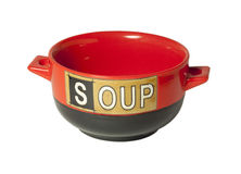Red bowl for soup. Red bowl with Soup lettering Royalty Free Stock Images