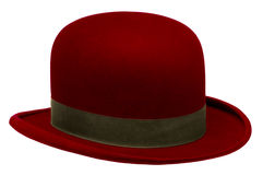 Red bowler or derby hat. Isolated against white background Royalty Free Stock Photo