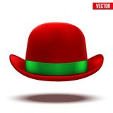 Red bowler hat on a white background. vector Royalty Free Stock Photos