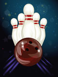 Bowling ball crashing into the skittles stock illustration