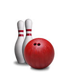 Red Bowling Ball And Pins Isolated on White Background Royalty Free Stock Photos