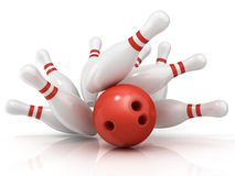 Red bowling ball and scattered pin. Isolated on white background Royalty Free Stock Images