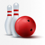 Red bowling ball and skittle  on a transparent background. Stock Photos