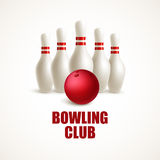 Red bowling ball and white skittles. Vector illustration Stock Images