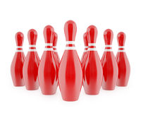 Red bowling pins with white stripes. Isolated on white background. 3d illustration high resolution Stock Photo