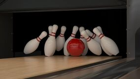Free Red Bowling Strike Ball On A Wooden Track With Pins Stock Photo - 181048100