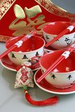 Red bowls and china new yeah wish Stock Photography