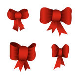 Red bows. Set of red bows isolated on white background Royalty Free Stock Images